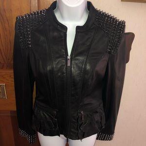 BEBE leather peplum spike jacket LIMITED EDITION